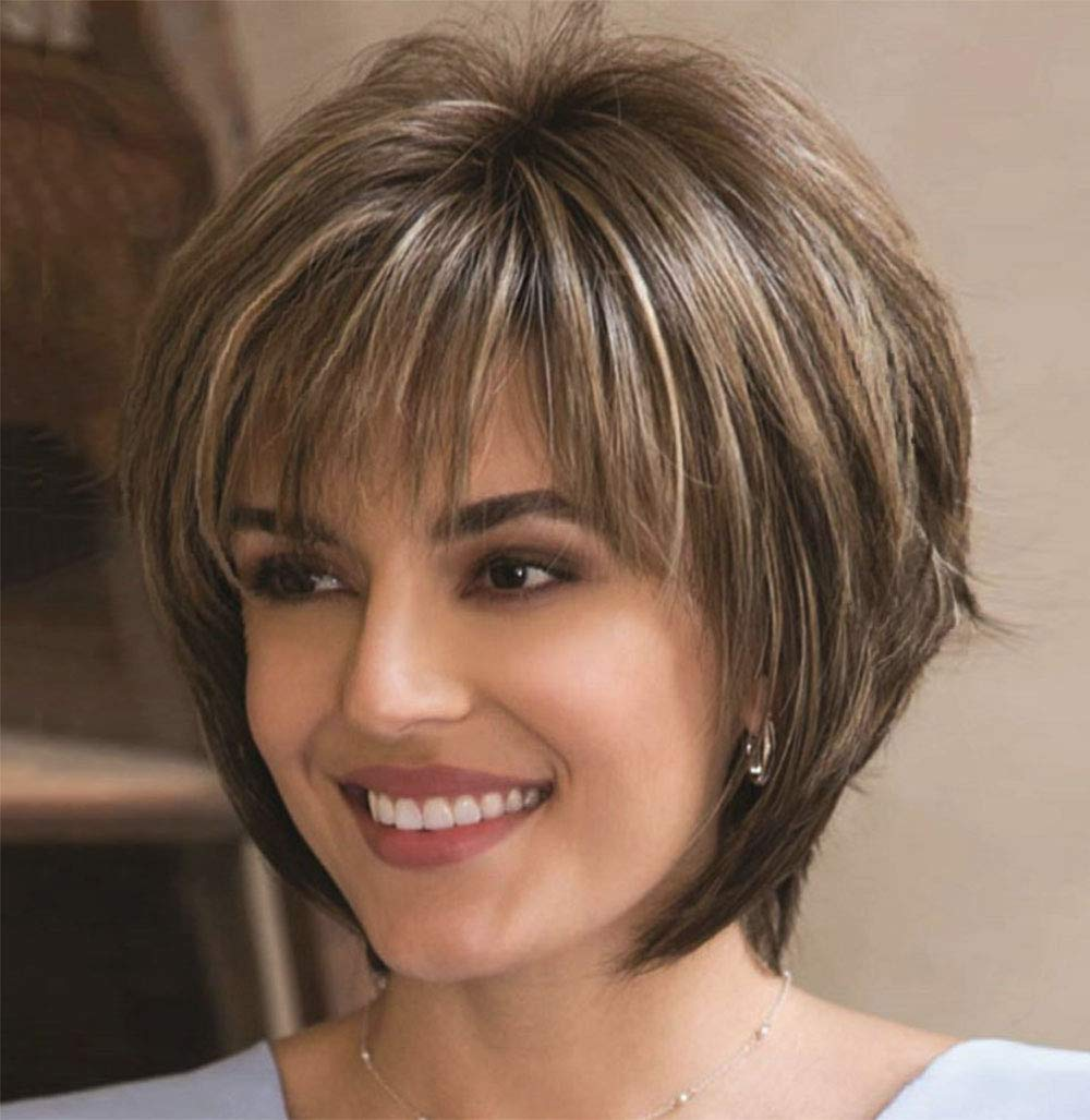 Brown Wigs for Women Short Curly Hair Wig Synthetic Full Female Wigs