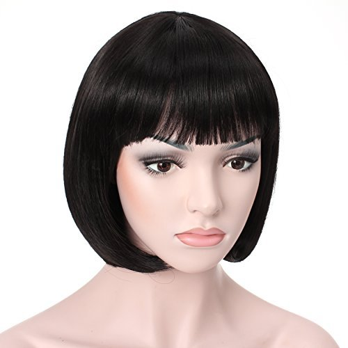 Black Wig for Women with Bangs Straight Synthetic Wig Natural As Real Hair