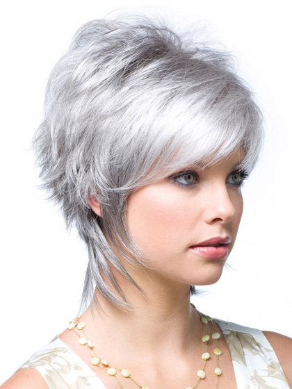 Traditional Wavy Short Synthetic Grey Wigs
