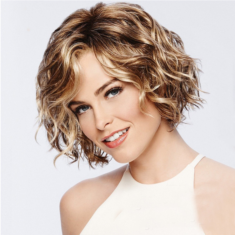 Short Brown Wigs for White Women Brown Mixed Blonde Bob Hair Wigs Heat Resistant Synthetic Full Wig