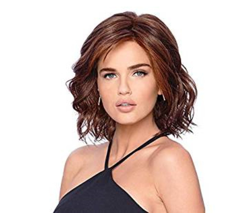 "12"" Chin Length Wavy Auburn Layered Synthetic Wigs For Women"
