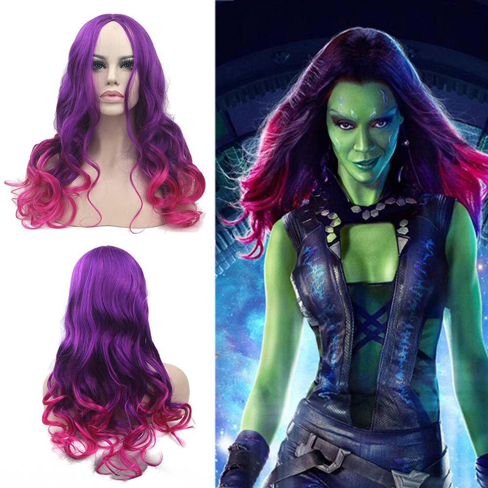 Long Wavy Synthetic Hair Purple To Pink Hair Wigs Women's Party Gamora Cosplay Wig