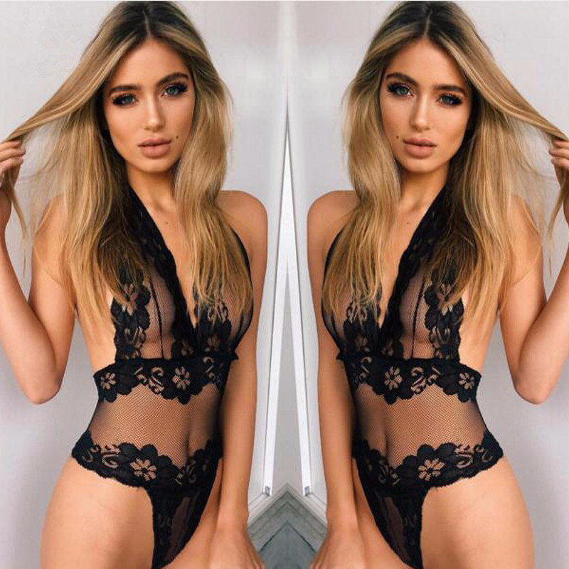 Erotic Lingerie Women Lace Perspective Babydoll Sexy Teddy Lingerie Hot Open Bra Halter Temptation Lenceria Sexy Underwear Porno