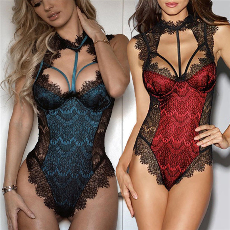 Catsuit Women Sexy Lingerie Teddies Porno Bodysuit Lace Body Sexy Hot Erotic Women Body Stocking Underwear Nightwear Lenceria