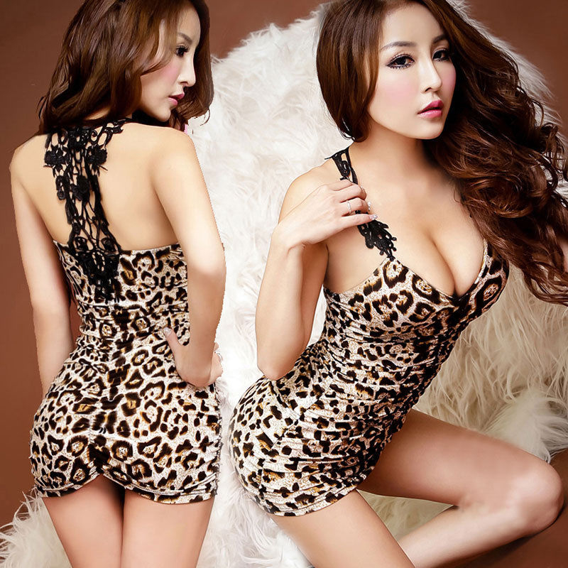 Hot Sexy Lingerie Women Sleepwear Black Leopard Stretch Mini Dress Babydolls Sex Erotic Underwear Nightdress