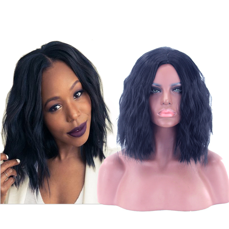 Africa America Women Natural Wave Wigs Afro Synthetic Hair High Temperature Fiber