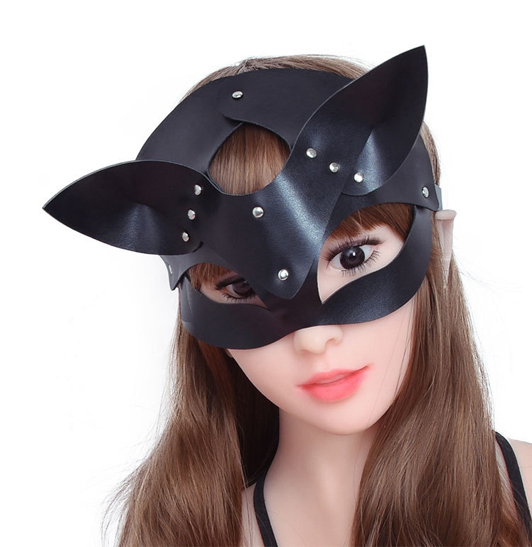 Sexy Leather Cat Mask For Women Bdsm Fetish Cat Head Black Eye Mask Halloween Carnival Party Mask Catwoman Cosplay Face Mask