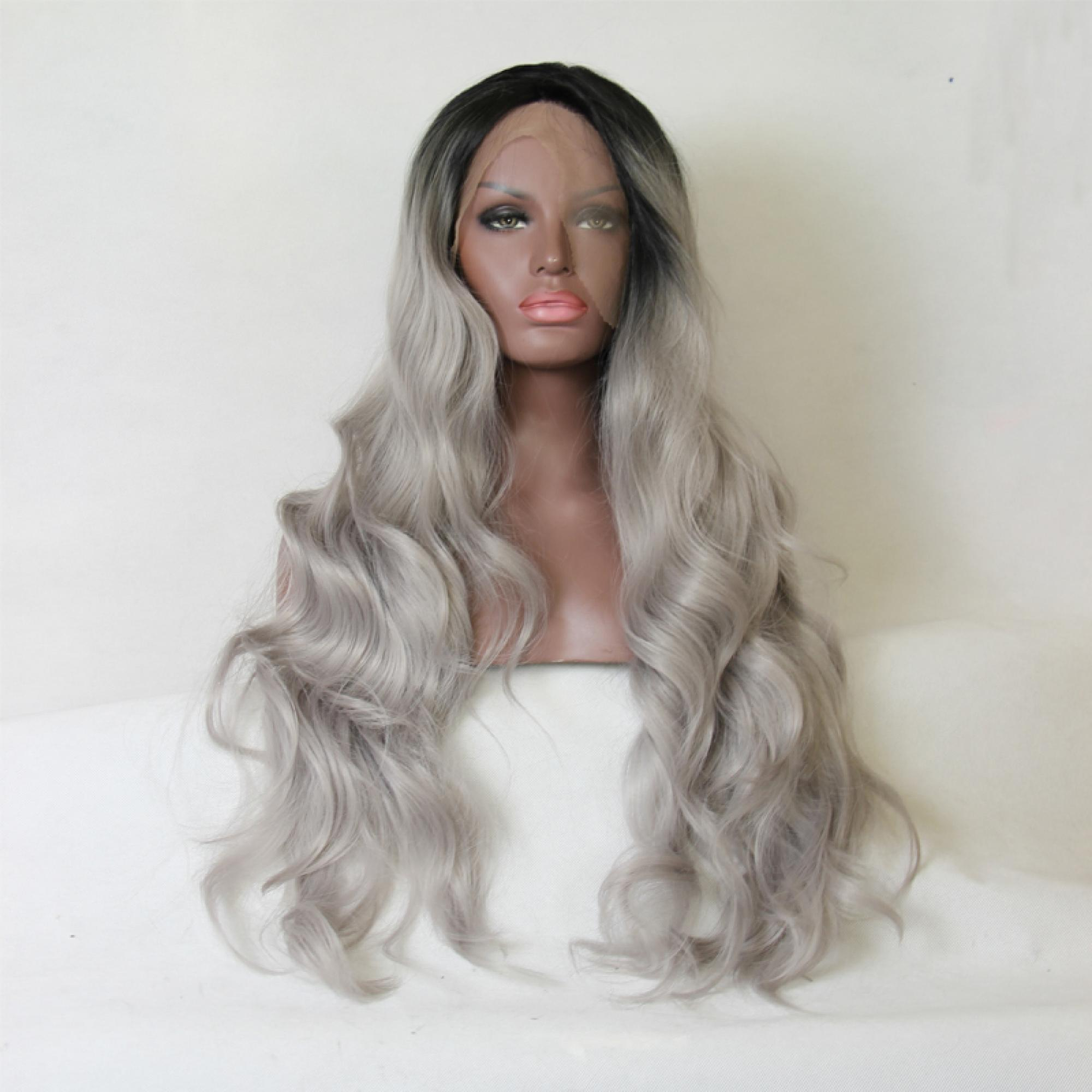 Fashion Ombre Silver Grey Bodywave Synthetic Lace Front Wig Glueless Long Natural