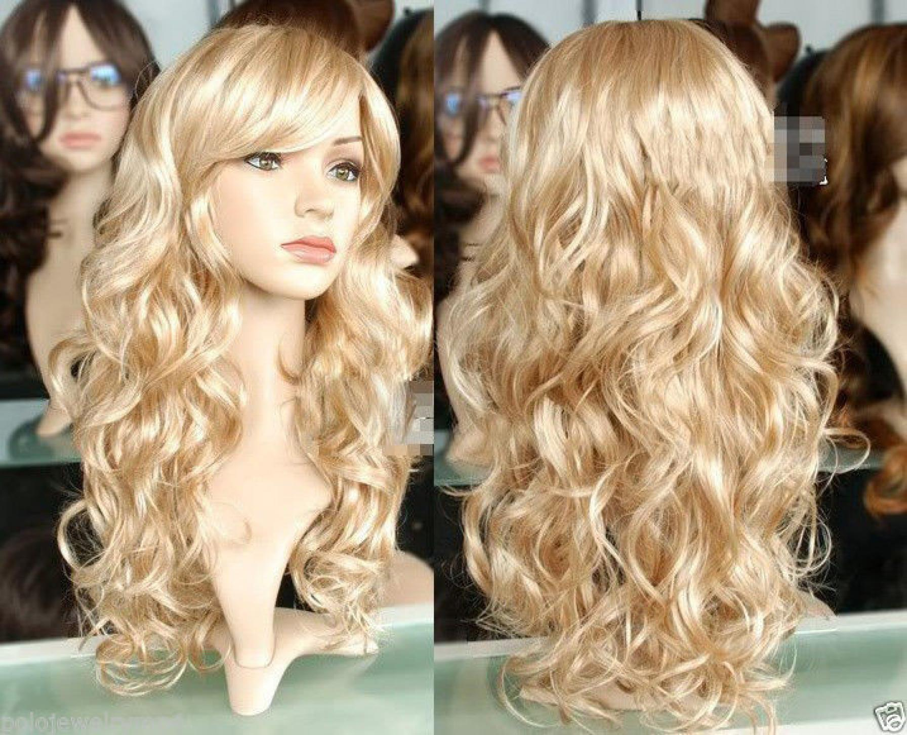 Harajuku Cosplay Wig Party Women Sexy Long Curly Costume Synthetic Hair Ladies Blond